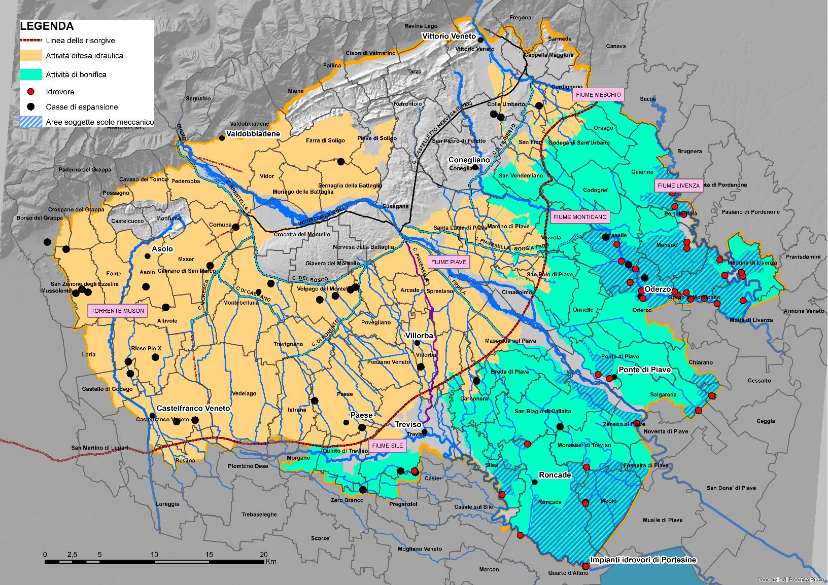 Il Consorzio Piave: area attività di bonifica e area attività difesa idraulica